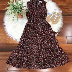 New🌿Brown Multi Flower Printed Midi Dress